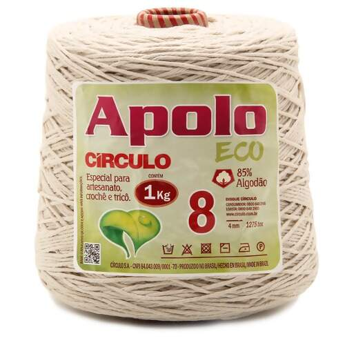 Barbante Apolo Eco Circulo N.08 Cru 1Kg