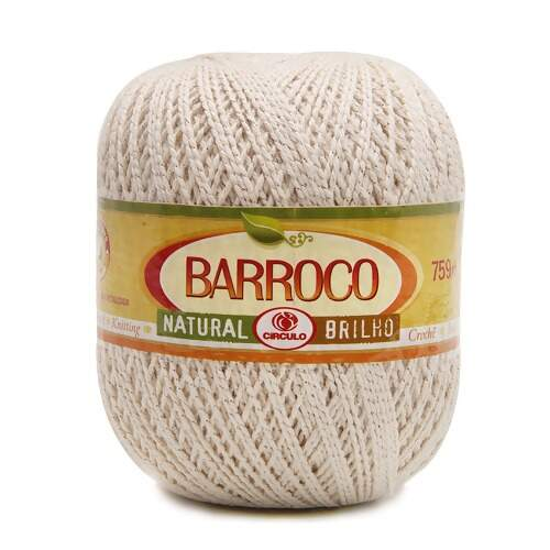 Barbante Barroco Natural Brilho Prata nº6 700g