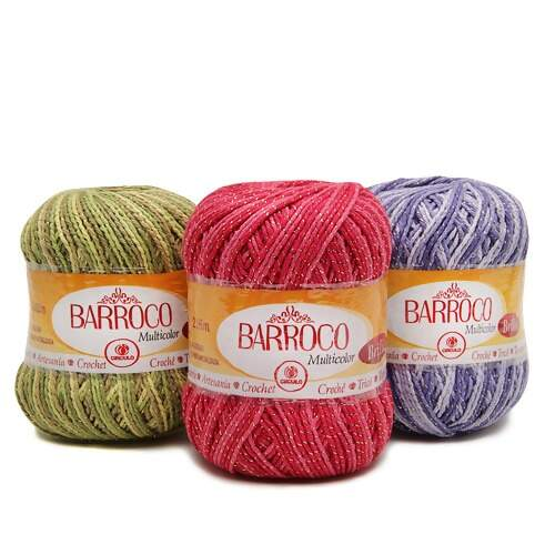 Barbante Barroco Multicolor c/ Brilho Ouro 200g