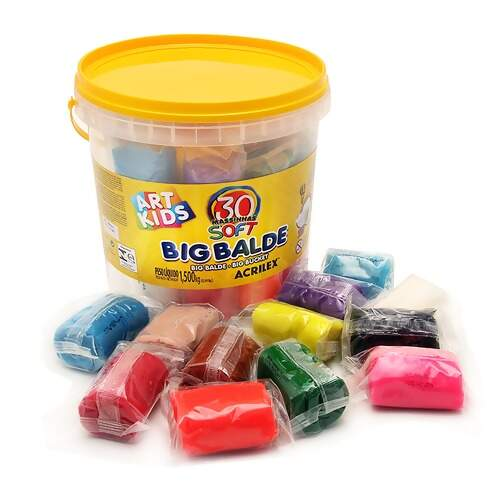 Big Balde com 30 Massinhas de Modelar Acrilex Ref 40023 Art Kids 1,500Kg