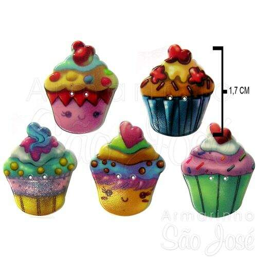 Botão Patchwork We Care About Cupcake Estampado Cores Diversas Ref.1499