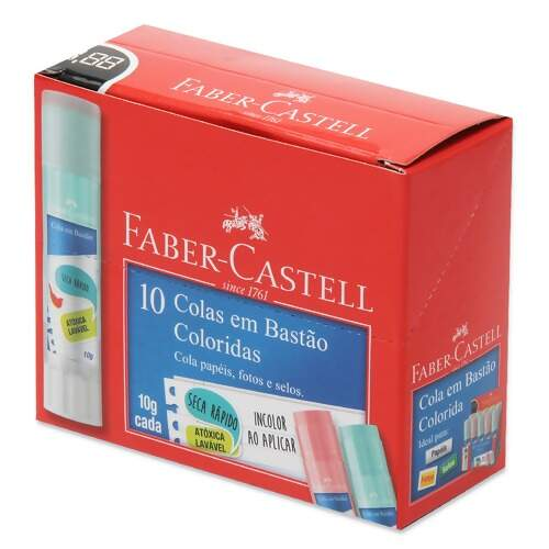 Cola Bastão Faber-Castell 10g Colors OF/8110COLORS com 10 Und