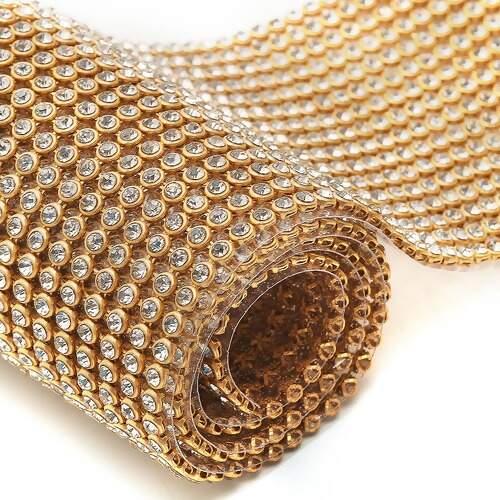 1bb703439 Manta de Strass para Chinelo Dourada 5,6 cm X 45 cm