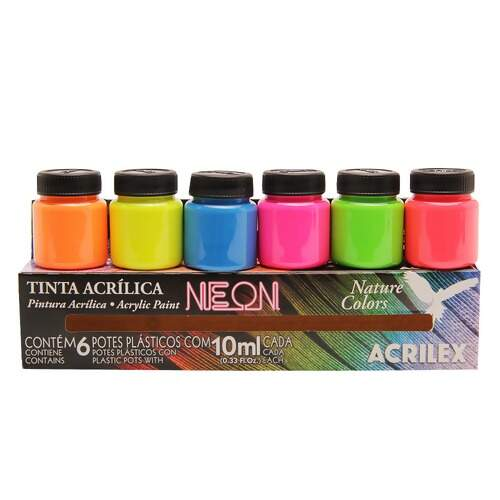 Tinta Acrilex Nature Colors Neon Ref.03906 6x10ml - c/06 unidades