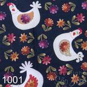 Tecido Patchwork Happy Quilter  T1001 Mini Flor Galinhas Preto 0,50x1,46 mt FL