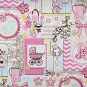 Tecido Patchwork Dohler 18999-5147 Baby Girl 0,98x1,50mts